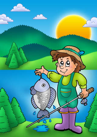 Small fisherman with fish - color illustration. illustration