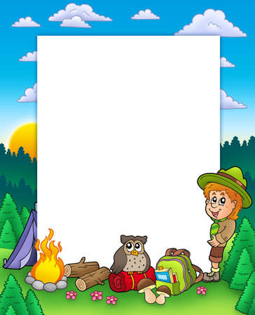 Summer frame with boy scout - color illustration. Stock Photo