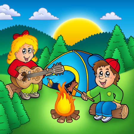 boy playing guitar: Two camping kids - color illustration.