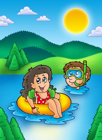 Two swimming kids in lake - color illustration.