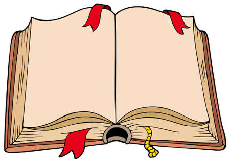 knowledge clipart: Ancient opened book - illustration. Illustration