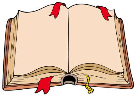 marcadores de libros: Antiguo libro abierto - ilustraci�n.  Vectores