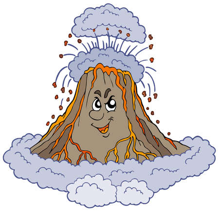 environment geography: Angry cartoon volcano - illustration. Illustration