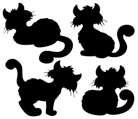 Cartoon cat silhouette collection - illustration. Vector