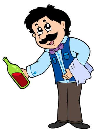 Cartoon waiter serving wine - vector illustration. Vector