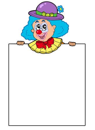 Clown holding blank board - illustration. Vector