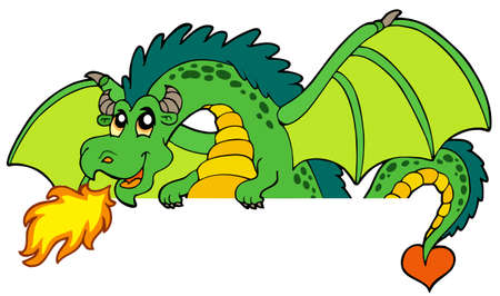 green dragon: Giant green lurking dragon - illustration.