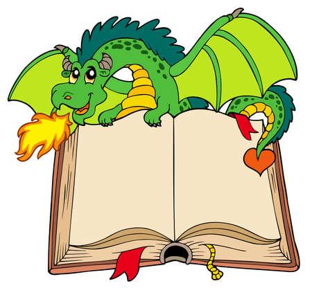 Green dragon holding old book - illustration. Vetores