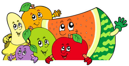 Lurking cartoon fruits - illustration. Vector