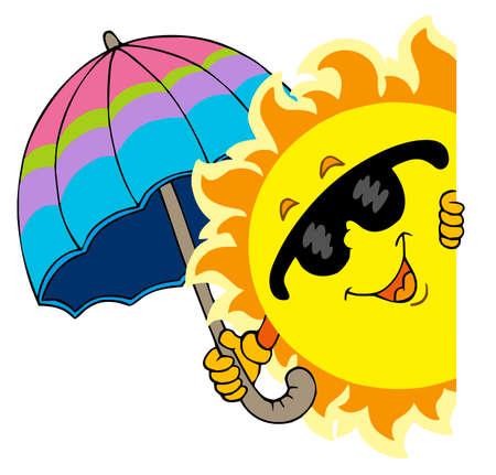 illustrazione sole: In agguato Sun con ombrello