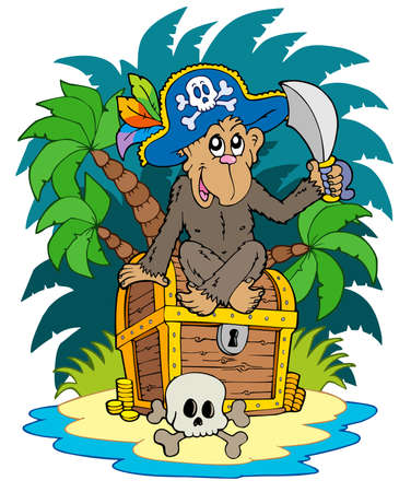 large skull: Pirate island with monkey - illustration. Illustration