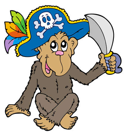 Pirate monkey on white background - illustration. Stock Vector - 7077972