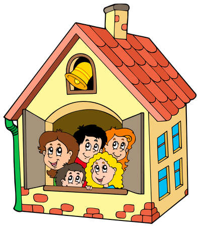 School building with kids - illustration.