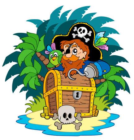 schateiland: Kleine eiland en piraat met haak - illustratie.