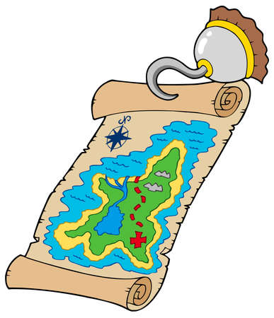 locate: Treasure map with pirate hook - illustration.