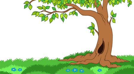 Tree in grassy landscape - illustration. Ilustracja
