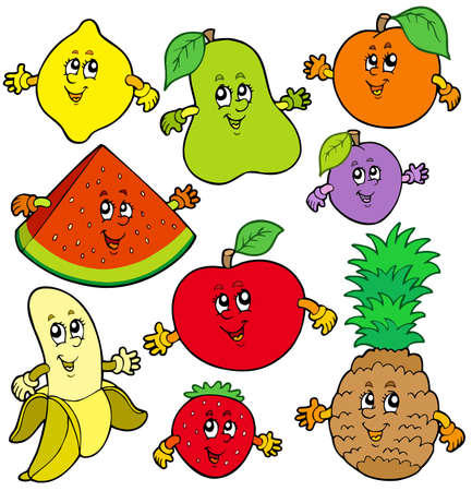 ananas: Various cartoon fruits - illustration. Illustration