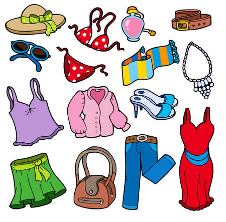 clothes cartoon: Woman apparel collection - illustration. Illustration