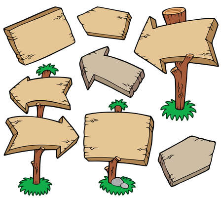 Wooden boards collection - illustration. Illustration
