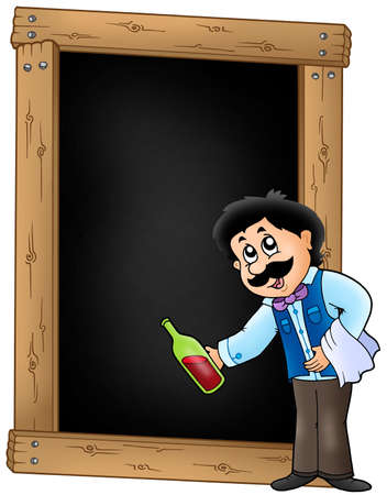 Blackboard with waiter serving wine - color illustration. illustration