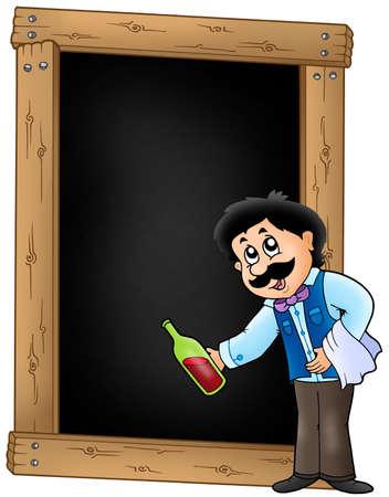 Blackboard with waiter serving wine - color illustration. illustration