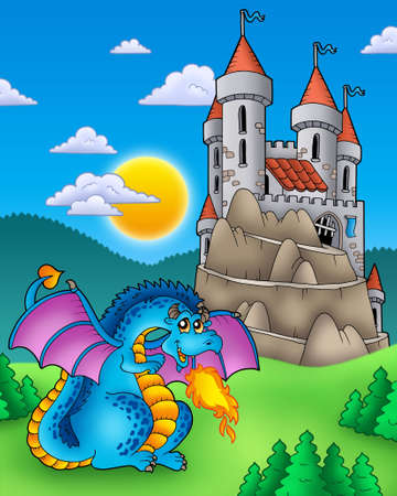cute dragon: Blue dragon with castle on hill - color illustration. Stock Photo