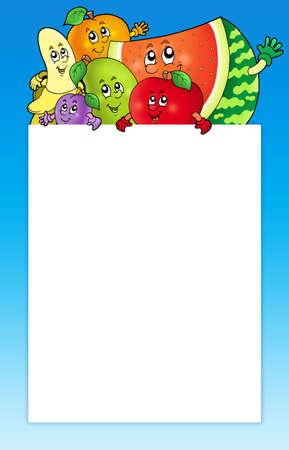 summer diet: Cartoon fruits holding blank board - color illustration.