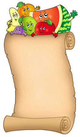 Cartoon fruits holding old scroll - color illustration. Stock Illustration - 7077933