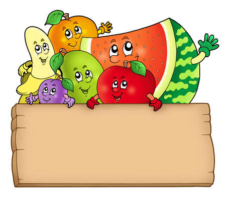 diet cartoon: Cartoon fruits holding wooden table - color illustration. Stock Photo