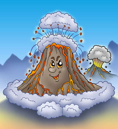 volcanic stones: Erupting cartoon volcano - color illustration.