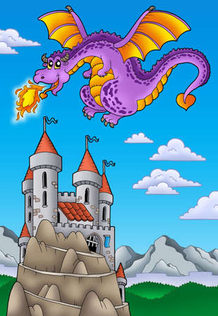 Flying dragon with castle on hill - color illustration. Stock Illustration - 7077989