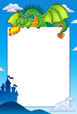 Frame with green dragon and castle - color illustration. illustration