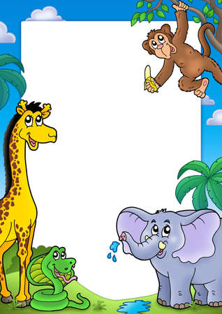 illustration zoo: Frame with various African animals - color illustration.