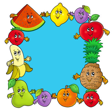 Frame with various cartoon fruits - color illustration. illustration