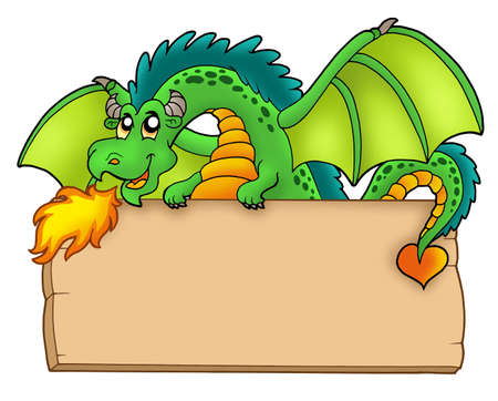 dragon cartoon: Giant green dragon holding board - color illustration. Stock Photo