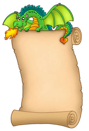 Giant green dragon holding scroll - color illustration. illustration