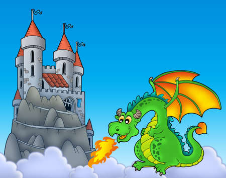 mountain cartoon: Green dragon with castle on hill - color illustration. Stock Photo