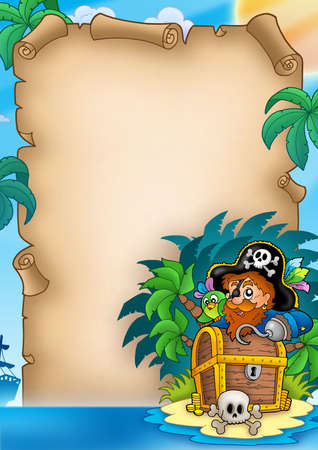 isla del tesoro: Pergamino con pirata en la isla - ilustraci�n de color.