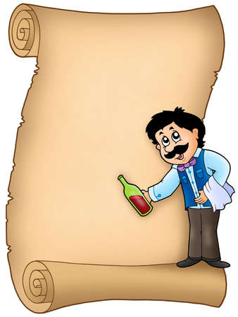 Parchment with waiter serving wine - color illustration. illustration