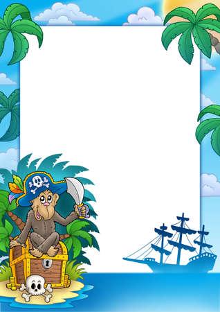 Pirate frame with monkey - color illustration. illustration