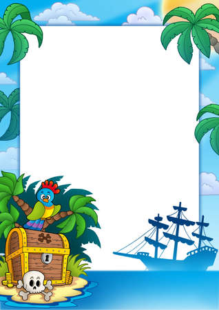 Pirate frame with treasure island - color illustration. Stock Photo