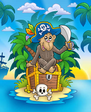Pirate monkey on treasure island - color illustration. illustration