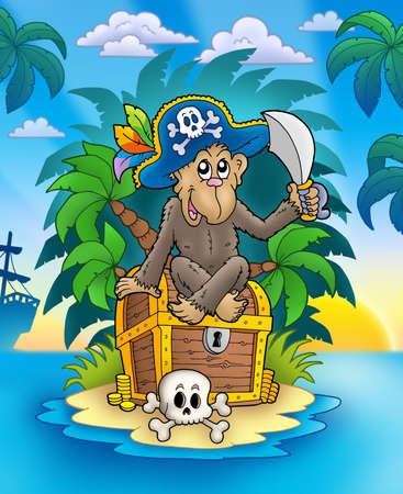 ile au tresor: Pirate singe sur le �le au Tr�sor - illustration de couleur.