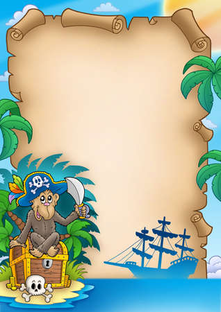 Pirate parchment with monkey - color illustration. illustration