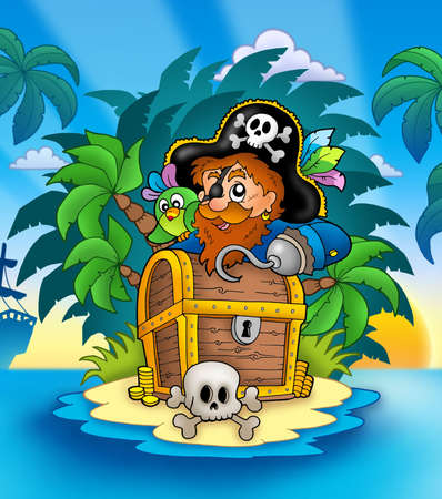 skull cap: Small island with pirate and chest - color illustration.
