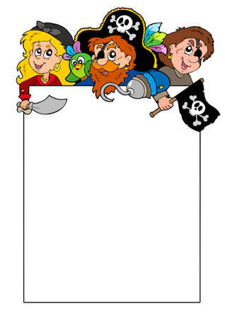 Blank frame with cartoon pirates Stock Vector - 7150780