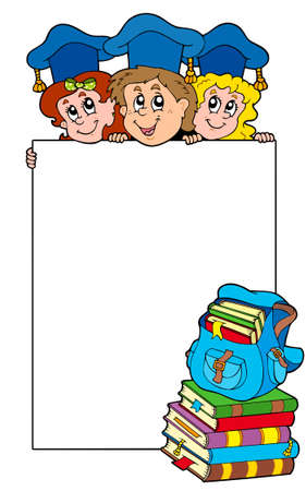 Blank frame with graduating kids  Vector