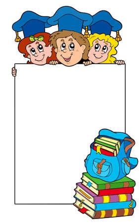 sch�ler: Leere Rahmen mit dem Abschluss kids