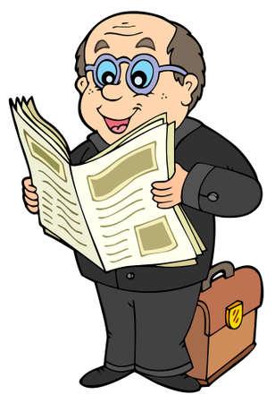 reading glass: Empresario de dibujos animados con el peri�dico