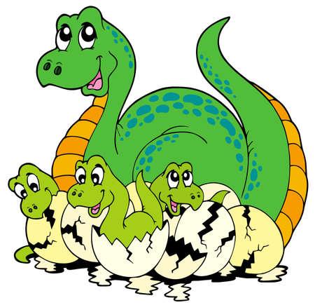 Dinosaur mom with cute babies  Vector